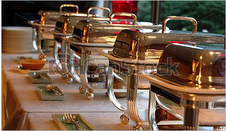 buffet station with silver covers 2